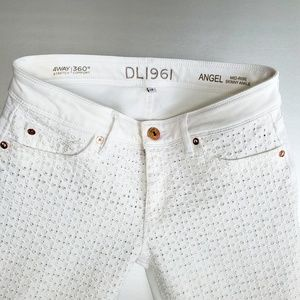 DL1961 White Angel Mid-Rise Skinny Ankle Jeans